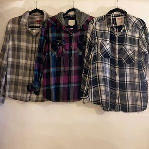 Lot of 3 plaid shirts. 2 flannels 1 casual cotton.